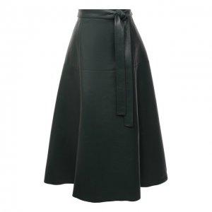 Кожаная юбка Oscar de la Renta. Цвет: зелёный