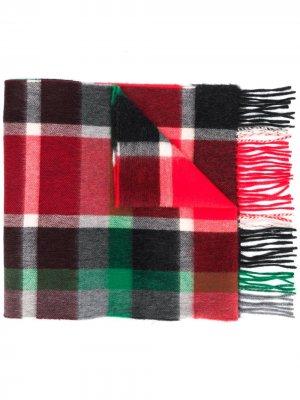 Клетчатый шарф с бахромой Begg & Co. Цвет: красный