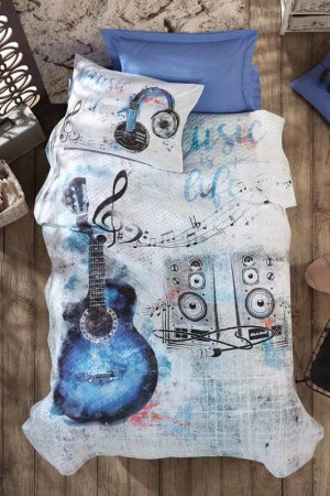 Young Cover Set, 1,5 sp Cotton box. Цвет: blue, white, grey