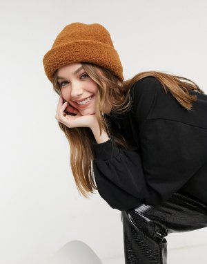 Коричневая плюшевая шапка-бини -Коричневый цвет SVNX