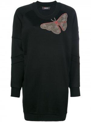 Платье с вышитой бабочкой Jo No Fui. Цвет: черный