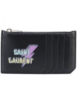 Визитница с заклепками Fragments Saint Laurent. Цвет: черный