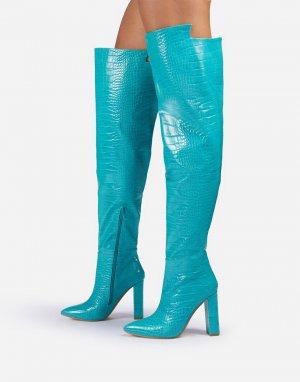 Свободные голубые ботфорты с эффектом крокодиловой кожи Ego x Molly-Mae Visionary-Голубой