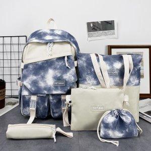 Для девочек 5шт Набор рюкзаков с узором тай-дай SHEIN. Цвет: синий и белый