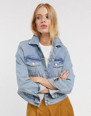 Синяя короткая джинсовая куртка -Голубой Selected