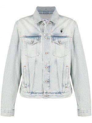 Джинсовая куртка с эффектом потертости Off-White. Цвет: синий