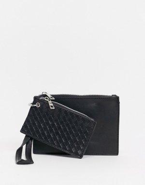 Набор из 2 предметов: кредитницы и кошелька черного цвета со стеганым дизайном -Черный SVNX