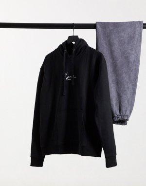 Худи черного цвета с небольшим логотипом Signature-Черный Karl Kani