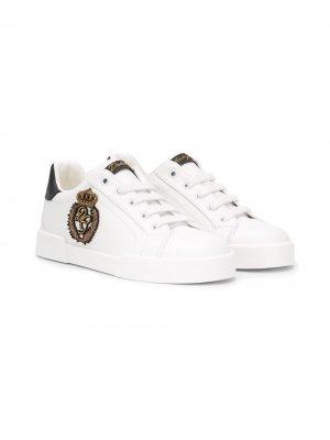 Кеды с нашивкой Dolce & Gabbana Kids. Цвет: белый