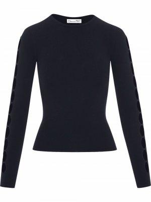Пуловер вязки интарсия Oscar de la Renta. Цвет: синий