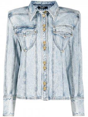Джинсовая куртка со вставками Balmain. Цвет: синий