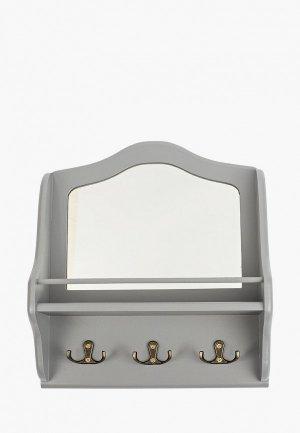 Ключница настенная Мастер Рио с зеркалом Винтаж. Цвет: серый