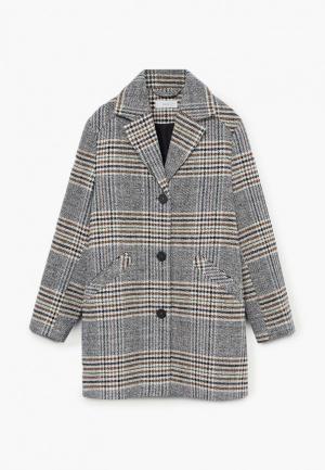 Пальто Mango Kids - SQUARE. Цвет: серый