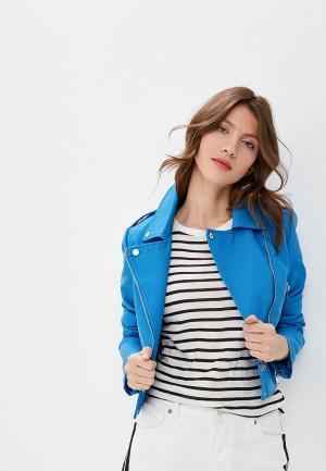 Куртка кожаная SH. Цвет: голубой