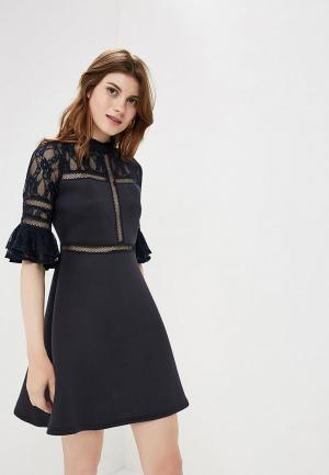 Платье Lost Ink Scuba & Lace Insert Fit Flare Dress. Цвет: синий