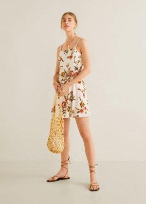 Принтованное платье с резинкой для волос - Lula Mango. Цвет: грязно-белый
