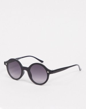 Черные круглые солнцезащитные очки без оправы -Черный AJ Morgan