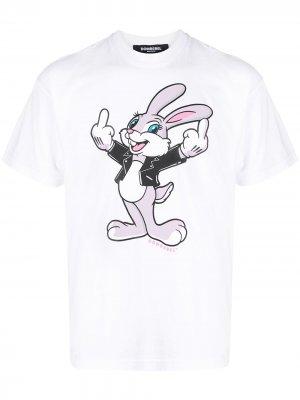 Футболка с принтом Humper Bunny DOMREBEL. Цвет: белый