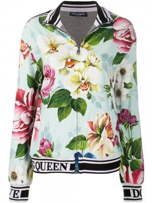 Куртка-бомбер с цветочным принтом Dolce & Gabbana. Цвет: синий