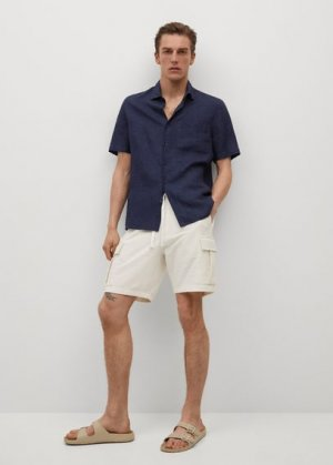 Рубашка 100% лен с короткими рукавами - Ants Mango. Цвет: темно-синий