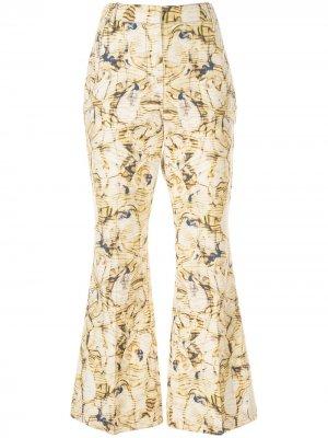 Расклешенные брюки Caspian с принтом CAMILLA AND MARC. Цвет: желтый