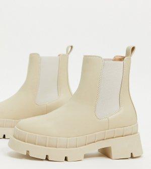 Светло-бежевые ботинки челси на массивной подошве для широкой стопы RAID Turner-Светло-бежевый Wide Fit
