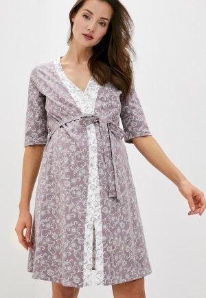 Халат и сорочка ночная Hunny mammy. Цвет: разноцветный