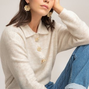 Пуловер-поло LaRedoute. Цвет: бежевый