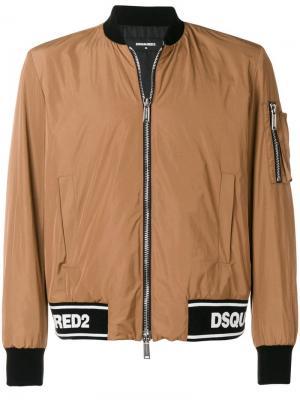 Куртка-бомбер в рубчик с логотипом Dsquared2