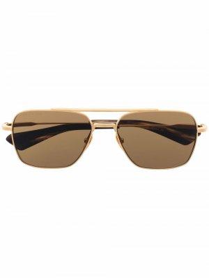 Солнцезащитные очки-авиаторы в квадратной оправе Dita Eyewear. Цвет: золотистый