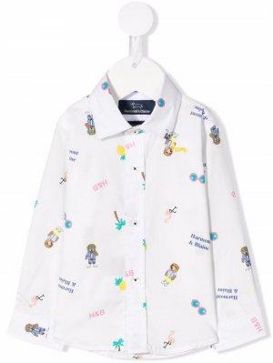 Рубашка с абстрактным принтом Harmont & Blaine Junior. Цвет: белый