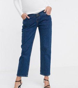 Синие прямые джинсы стретч с завышенной талией и эластичной вставкой на животе ASOS DESIGN Maternity-Синий Maternity