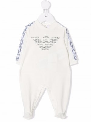 Пижама с логотипом Emporio Armani Kids. Цвет: белый