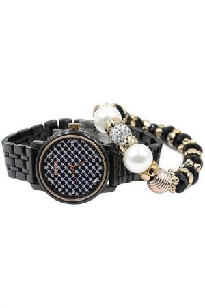Набор: часы, браслет BORA. Цвет: черный