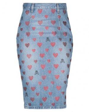 Джинсовая юбка PHILIPP PLEIN. Цвет: синий