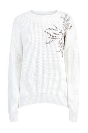 Объемный джемпер из пряжи Pure New Wool с ручной вышивкой пайетками GRAN SASSO. Цвет: белый