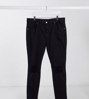 Черные супероблегающие джинсы с рваными коленями -Черный Dr Denim Plus