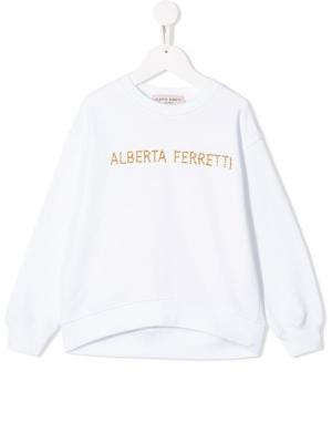 Толстовка с декорированным логотипом Alberta Ferretti Kids