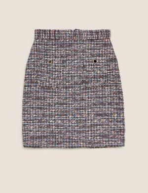 Твидовая мини-юбка А-силуэта M&S Collection. Цвет: морской микс