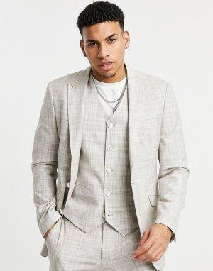 Светло-бежевый приталенный пиджак с узором в виде штриховки Wedding ASOS DESIGN