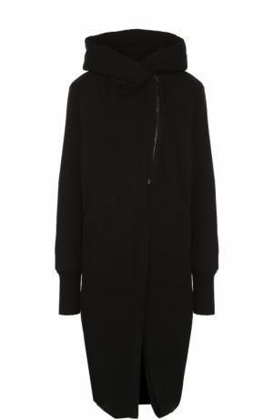 Хлопковое пальто с косой молнией и капюшоном Roque. Цвет: черный