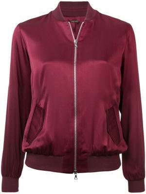 Куртка-бомбер с застежкой на молнии Adam Lippes. Цвет: красный