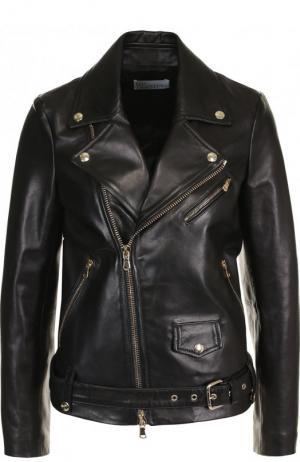 Кожаная куртка с поясом и косой молнией REDVALENTINO. Цвет: черный