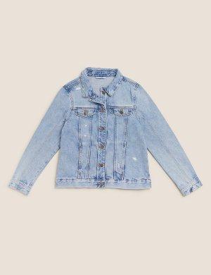 Джинсовый пиджак из чистого хлопка Marks & Spencer. Цвет: деним