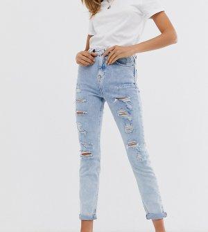 Голубые джинсы скинни с рваной отделкой -Синий New Look