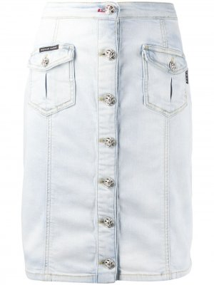 Джинсовая юбка на пуговицах Philipp Plein. Цвет: синий