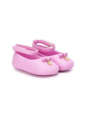 Балетки с лентами Dolce & Gabbana Kids. Цвет: розовый
