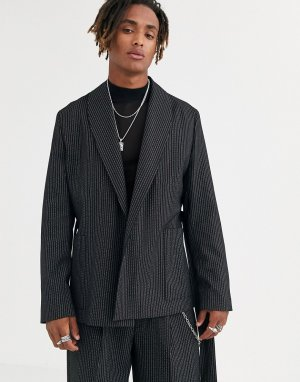 Черный пиджак в тонкую полоску Heart & Dagger