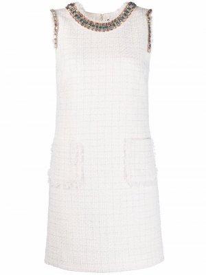 Твидовое платье с кристаллами Blumarine. Цвет: нейтральные цвета