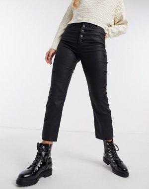 Черные джинсы с прямыми штанинами, видимыми пуговицами и высокой талией -Черный Abercrombie & Fitch